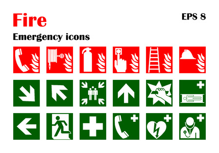 Vector fire emergency icons. Signs of evacuations. Stock Illustratie
