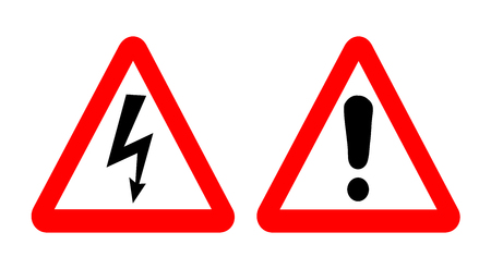 cautionary: High voltage and warning signs. Emergency symbols in red triangle. Vector illustration.