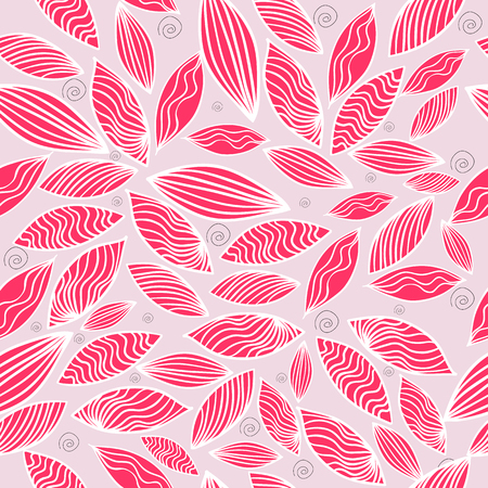 Colored seamless pattern with leaf in pink. Vector illustration. Vector Illustration