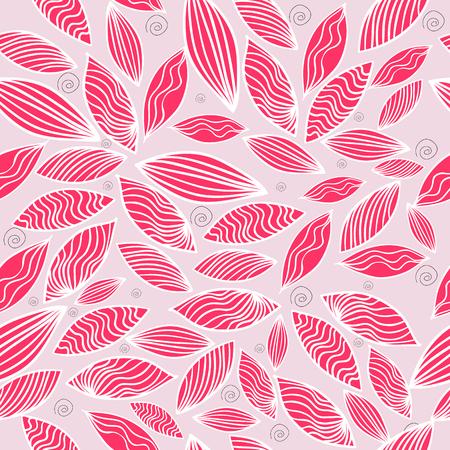 Gekleurd naadloos patroon met blad in roze. Vector illustratie. Vector Illustratie