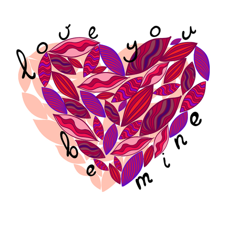 trait: Pink heart from leaves. Vector illustration. Greeting card for valentines day.