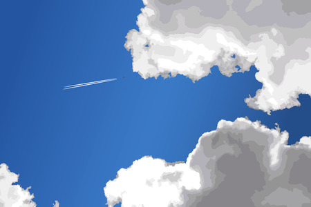 heaven: Airplane tracks in blue heaven with clouds. Vector illustration.