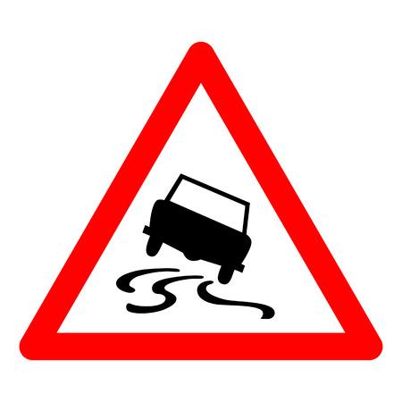 road design: Vector illustration of triangle traffic sign for slippery road Illustration
