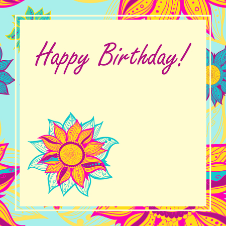 text sample: Postcard with hand drawn flower and text sample. Vector illustration. Happy Birthday.