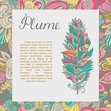text sample: Postcard with hand drawn plume and text sample. Vector illusctration.