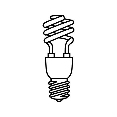 thrift: Black white symbol of  fluorescent  bulb. Vector illustration.