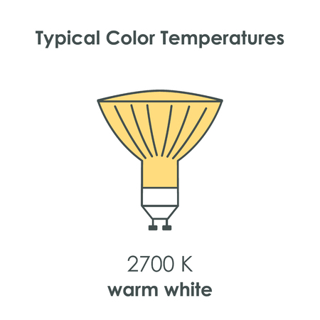 Halogen light yellow bulb with color temperature. Vector illustration. Illustration