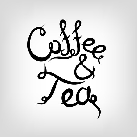 handdrawn: Vector Hand-drawn cute Lettering. Coffee and tea.