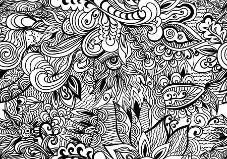 Vector Doodle black and white abstract hand-drawn background. Wavy zentangle style seamless pattern.