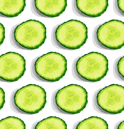 cucumber slice: Cucumber slice seamless pattern. Vector illustration background.