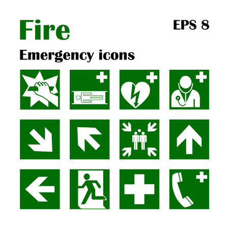 Vector fire emergency icons. Signs of evacuations. Fire emergency exit in green, assembly point.
