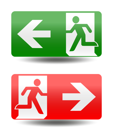 emergency exit: Vector fire emergency icons. Signs of evacuations. Fire emergency exit in green and red.