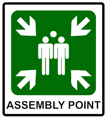 Vector fire emergency icons. Signs of evacuations. Fire assembly point.