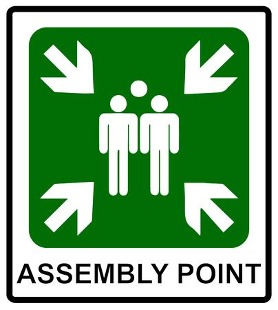 emergencia: Vector iconos de emergencia de incendio. Los signos de evacuaciones. punto de reunión fuego. Vectores