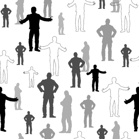 people standing: Set of man silhouettes in white, black and grey. Vector seamless pattern.