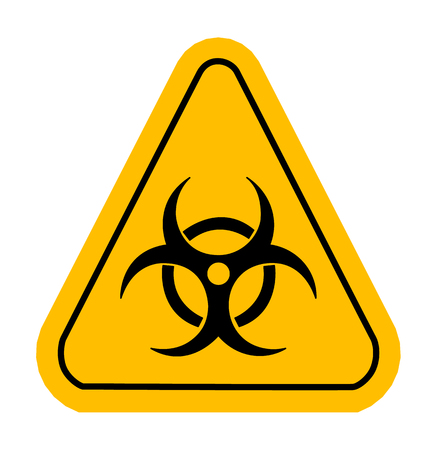 poison sign: Warning icon in yellow triangle. Vector illustration. Biohazard. Illustration