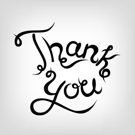 te negro: Vector dibujado a mano letras linda. Gracias. letras negras.