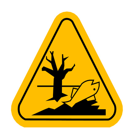 dead fish: Sign of poisonsous in yellow triangle. Dead fish.  Vector illustration.