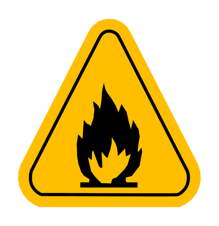 flammable warning: Warning icons in yellow triangle. Fire dangerous. Flammable. Vector illustration