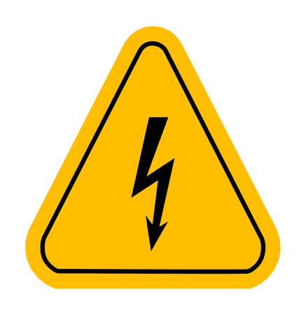 poisonous substances: Warning icons in yellow triangle. High voltage. Vector illustration