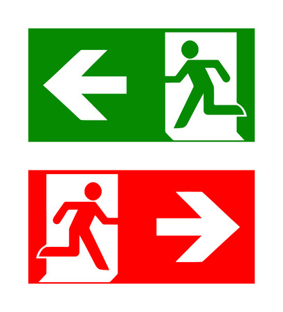 emergency: Vector fire emergency icons. Signs of evacuations. Fire emergency exit in green and red.