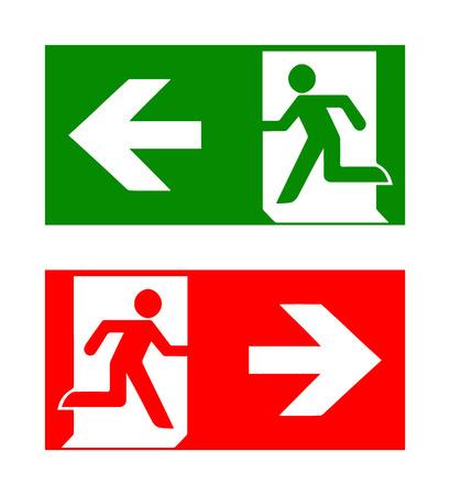 emergencia: Vector iconos de emergencia de incendio. Los signos de evacuaciones. Salida de socorro de emergencia en verde y rojo. Vectores