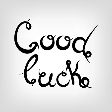 black luck: Vector Hand-drawn cute Lettering. Good luck. Black letters.