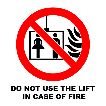 emergency case: Vector fire emergency icons. Signs of evacuations. Do not use the lift in case of fire.