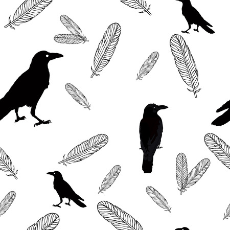 Seamless ravens and feathers. Vector silhouette of a crows in different positions.