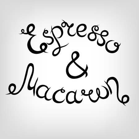 macaron: Vector Hand-drawn cute Lettering. Espresso and Macaron. Black letters.