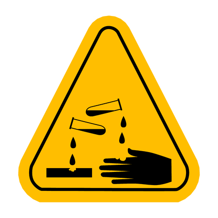 부식성 기호. 벡터 노란색 삼각형 경고 아이콘입니다.