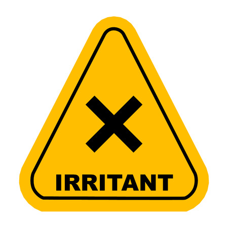 oxidizer: Irritant sign. Vector yellow triangle warning icon. Illustration