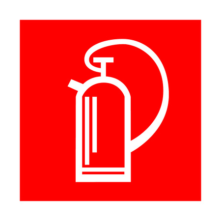 inflammable: Fire extinguisher sign. Voctor warning icon on red .