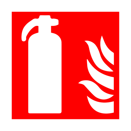 assembly point: Vector fire emergency icons. Signs of evacuations. Fie extinguisher.