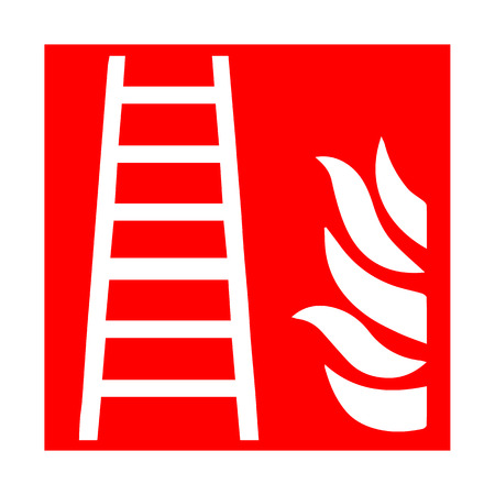 assembly point: Vector fire emergency icons. Signs of evacuations. Fire stairway. Illustration