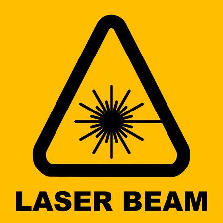 Warning icon of Laser light in yellow triangle. Vector illustration. Laser beam. Radiation. Illustration