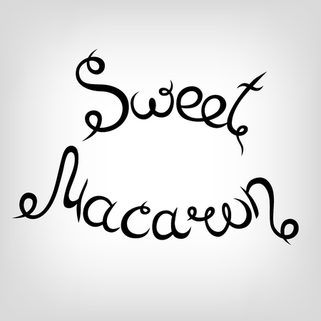 donut style: Vector Hand-drawn cute Lettering. Sweet Macarons. Black letters.