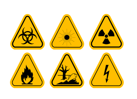 arrow poison: Vector Set of Triangle Yellow Warning Icons. High voltage, toxic, caution, fire, laser radiation, radioactive. Illustration