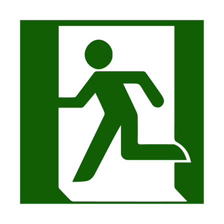 exit emergency sign: Vector fire emergency icons. Signs of evacuations. Fire emergency exit in green. Illustration