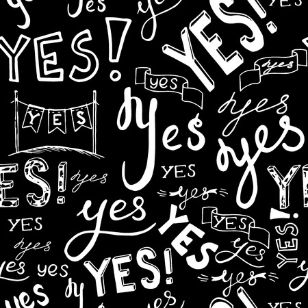 black white seamless vector pattern background illustration with word yes.