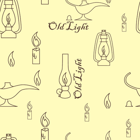 oil lamp: Old light sources seamless pattern on beige yellow background. Vector illustration. Oil lamp, candle, fire.
