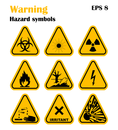 explosion hazard: Warning Hazard Symbols. Set of vector icons. High voltage, toxic, caution, fire, laser radiation, radioactive, explosion, corrosive, irritant.