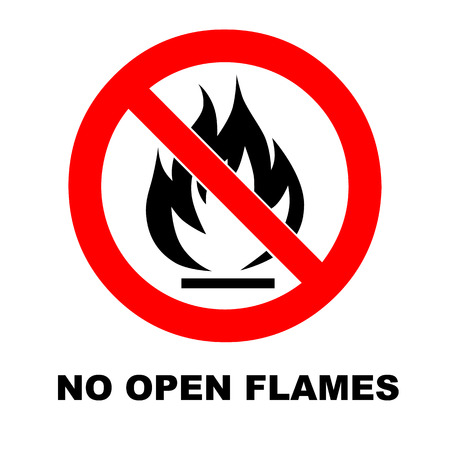 No Fire Sign. No open flames discription. Vector emergency, caution symbol. Fire forbidden in red circle. Isolated on white.