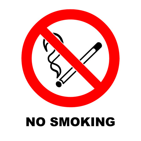 pernicious habit: No smoking sign on white background. No smoking vector symbol with description. Warning icon.