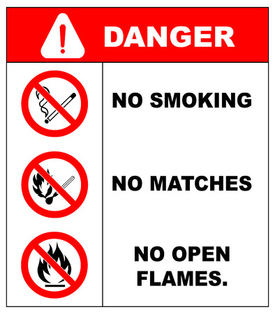 harming: No smoking, No open flame, No matches. Fire, open ignition source and smoking prohibited signs. Dangerous symbols set. Warning sheet.