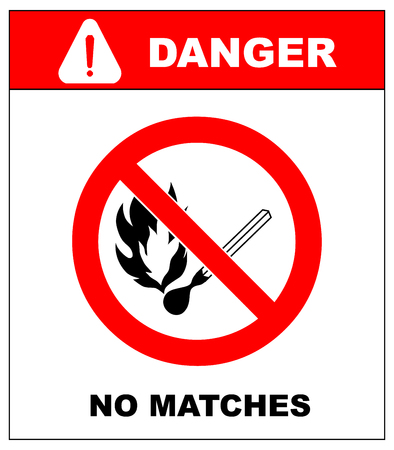 open flame: No smoking, No open flame, No matches. Fire, open ignition source and smoking prohibited signs. Dangerous symbols set. Warning sheet. Exclamation point.