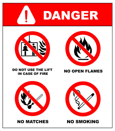 cross match: No smoking, No open flame, No matches. Do not use lift in case of fire. Fire, open ignition source and smoking prohibited signs. Dangerous symbols set. Warning sheet.