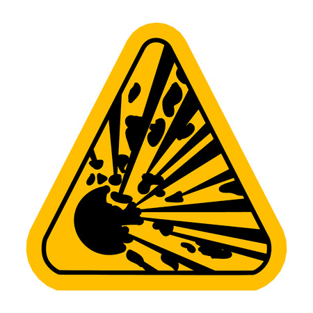 explosive hazard: Explosive Hazard Sign.  Illustration on white background for design. Yellow triagnle warning symbol.  Danger vector icon. Warning sheet.