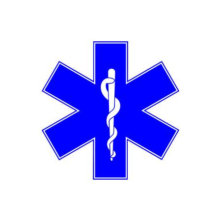 ems: symbol of the Emergency - Star of Life - icon isolated on white background. icon. Emergency symbol. Blue, six-pointed star emblem for ambulances. Illustration