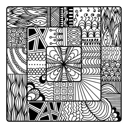 Square For Art, Coloring Book, Zendoodle, Mandala Design. Black ...
